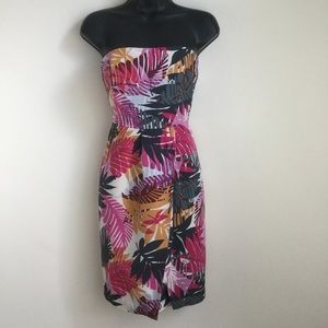 Banana Republic Strapless Dress Bright Floral Silk
